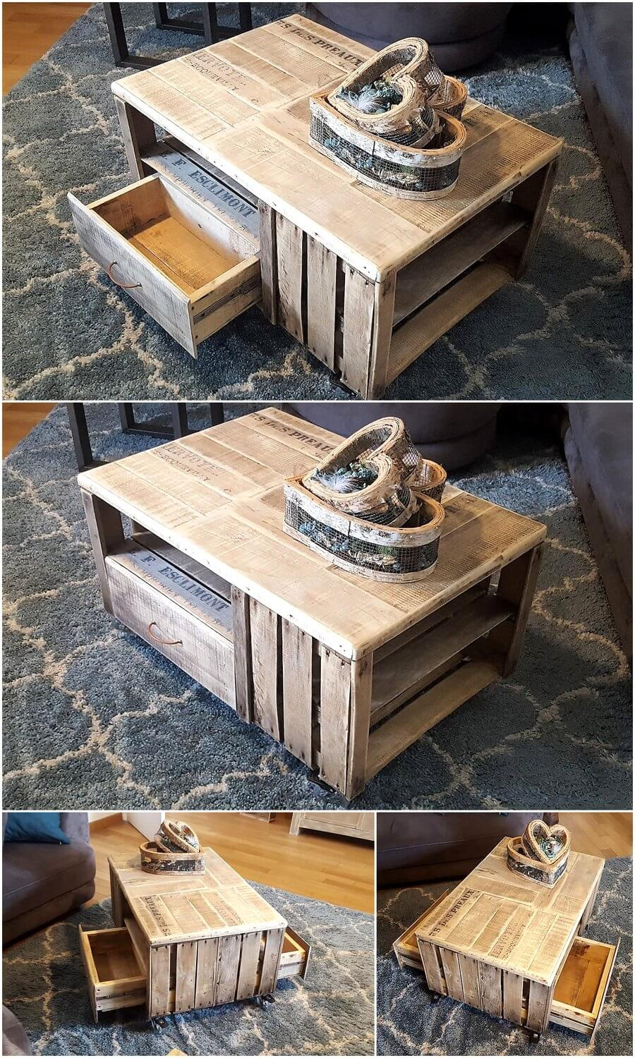 Table made with repurposed pallets fruit crates pallet ideas for Repurposed pallet projects