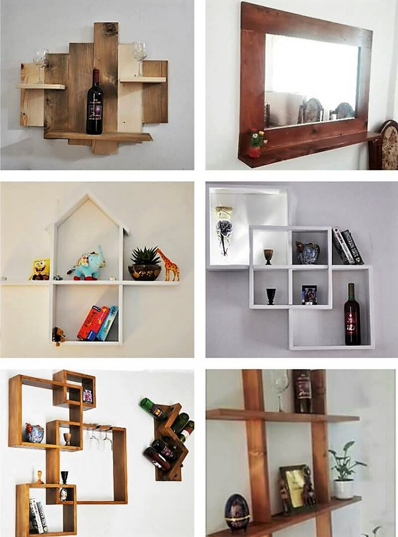 creative ideas for wood pallet wall shelves