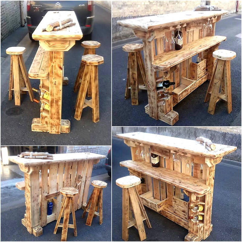 cute bar made with wooden pallets