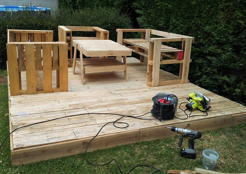 Wood Furniture Diy diy pallets wood garden terrace with furniture | pallet ideas