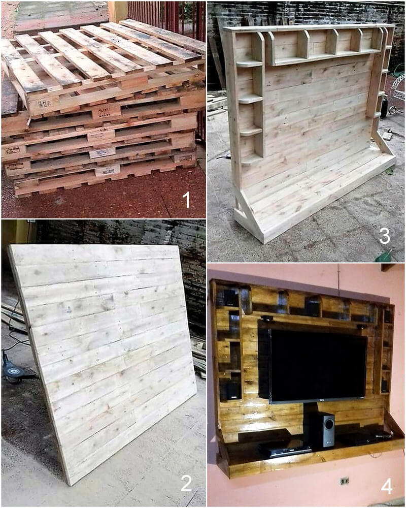 diy wood pallet wall tv stand
