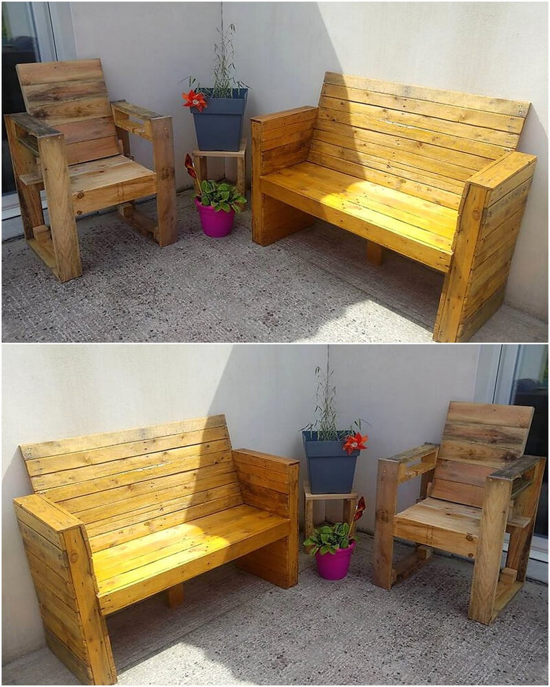 pallet outdoor bench with chair