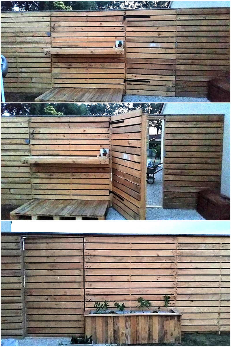 pallet patio garden fence wall idea