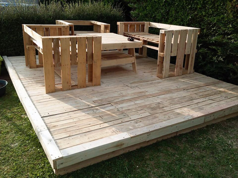pallet wood garden terrace with furniture