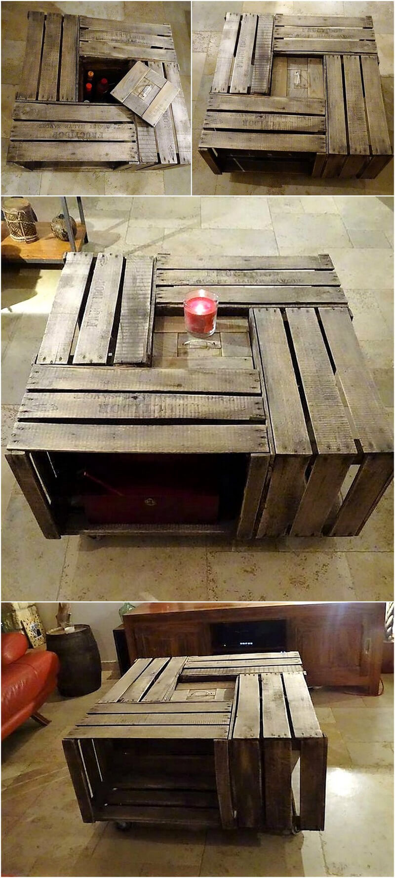 pallets fruit crates table idea