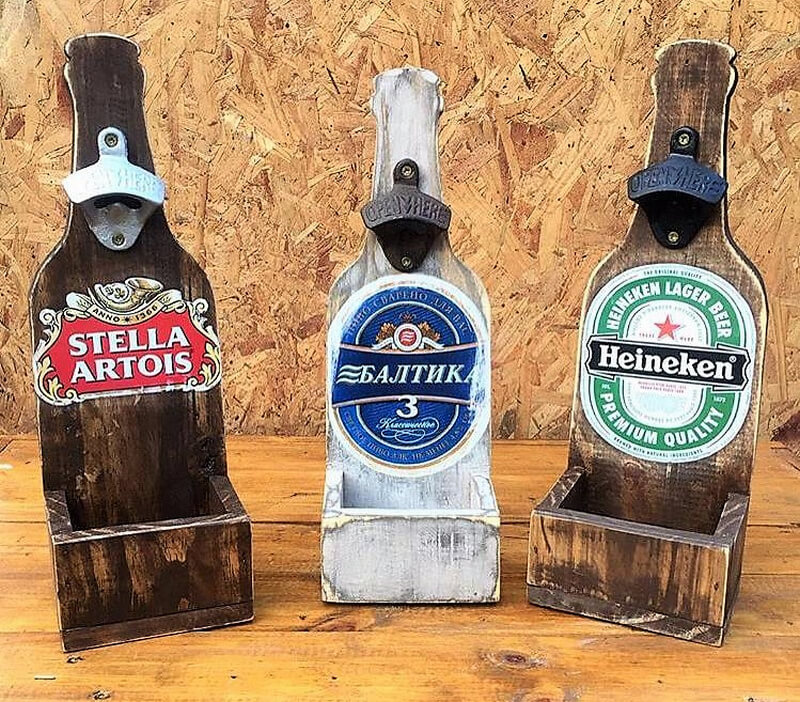 pallets wood bottle stand with opener