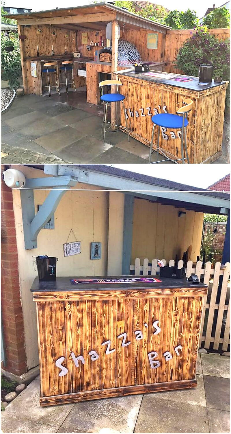 pallets woode made patio bar