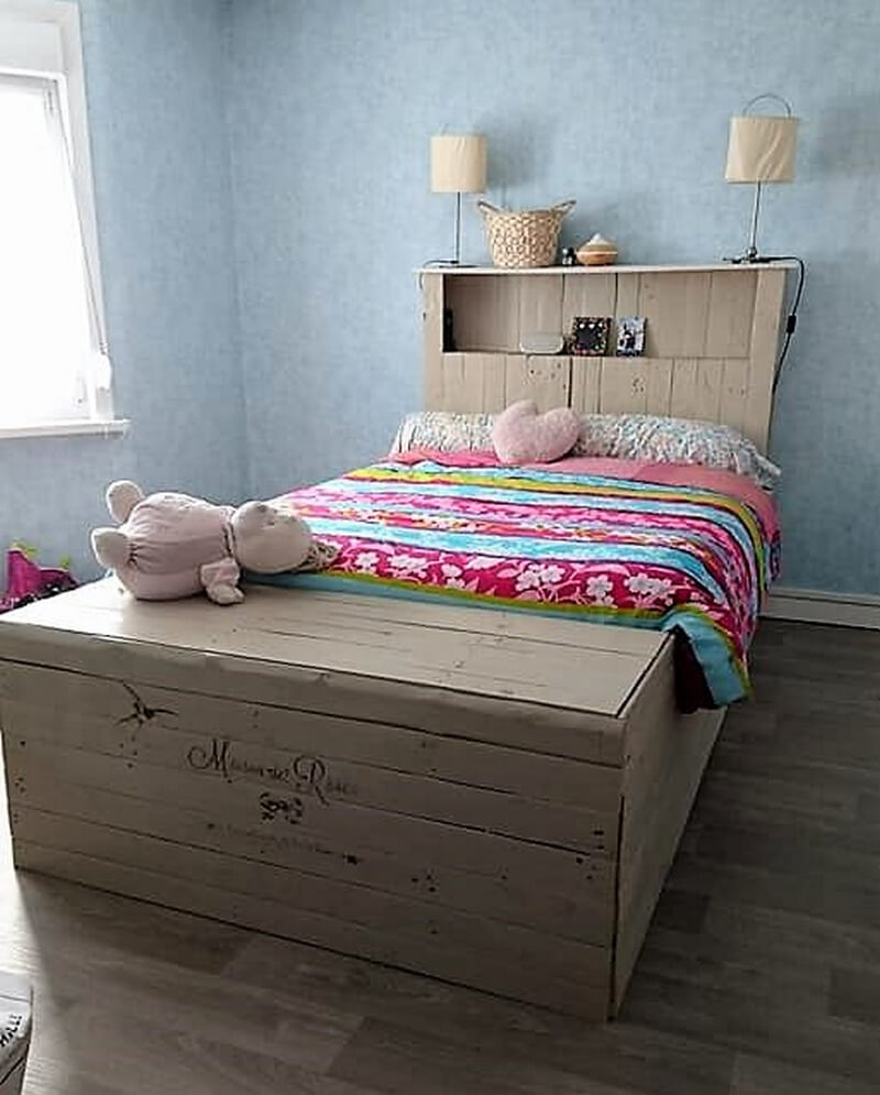 pallets wooden bed plan