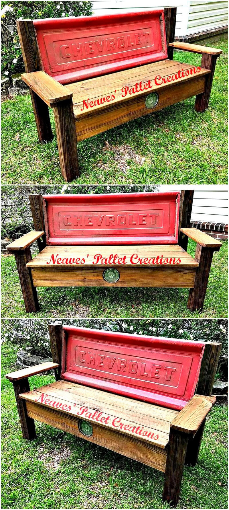 recalimed pallets rustic garden bench
