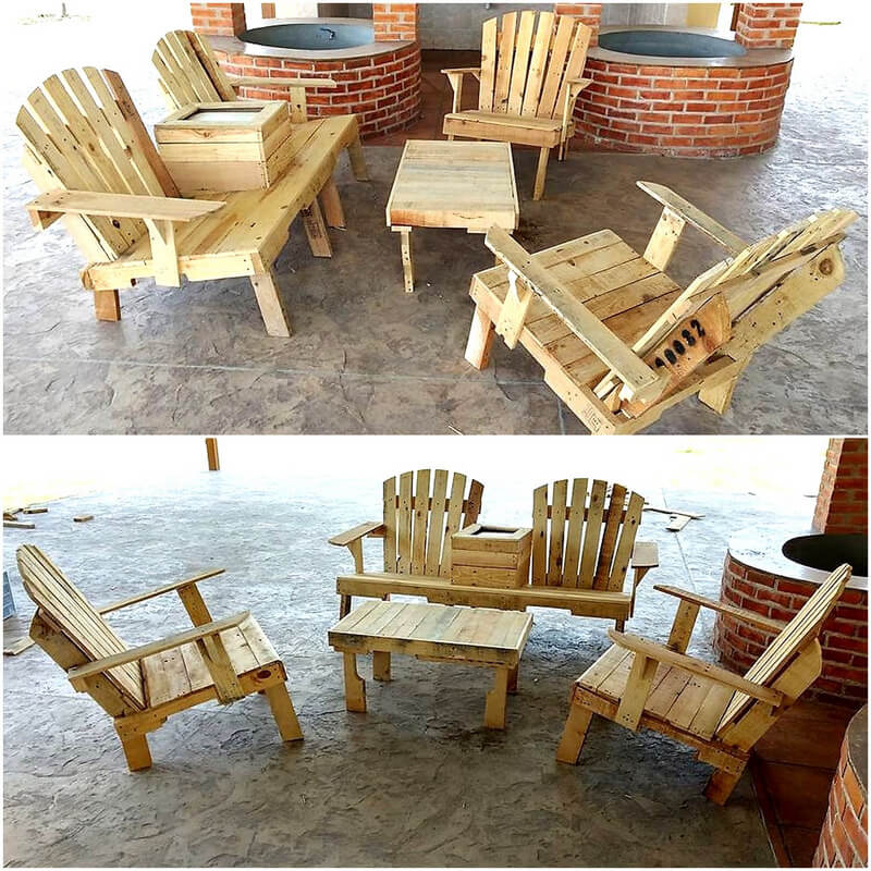 reclaimed pallets made furniture set