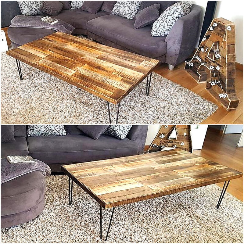 reclaimed pallets table and art