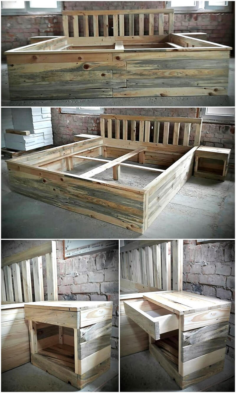 recycled pallets bed frame with side tables