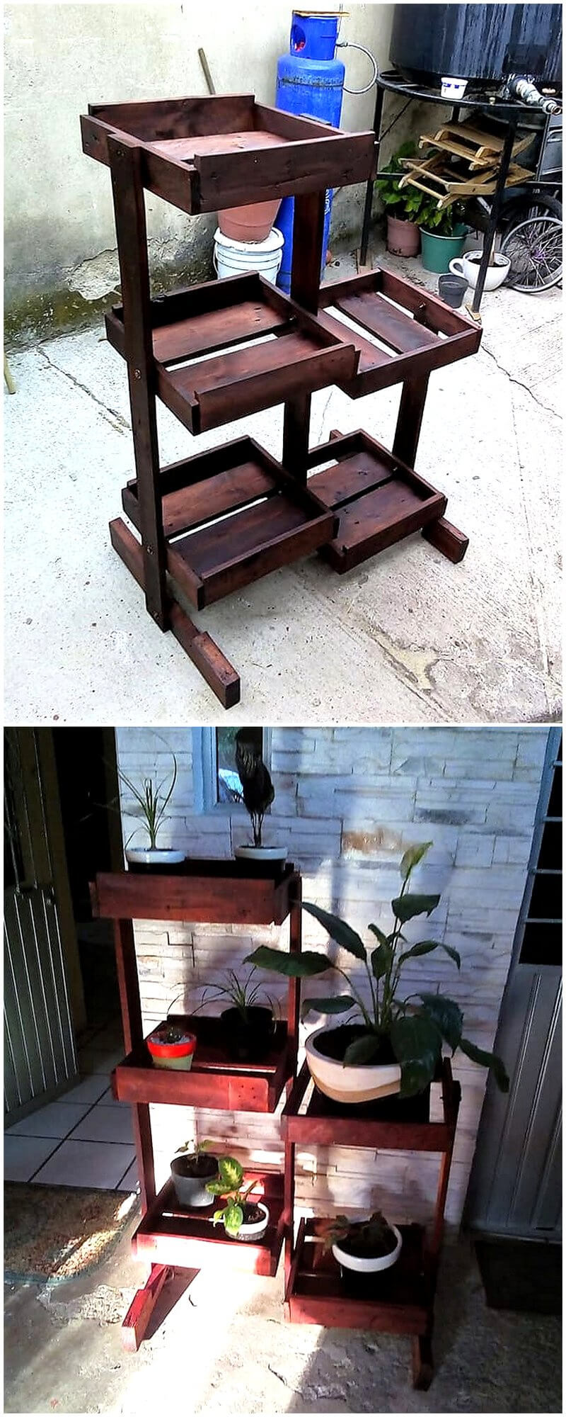 recycled wood pallet pots stand planter