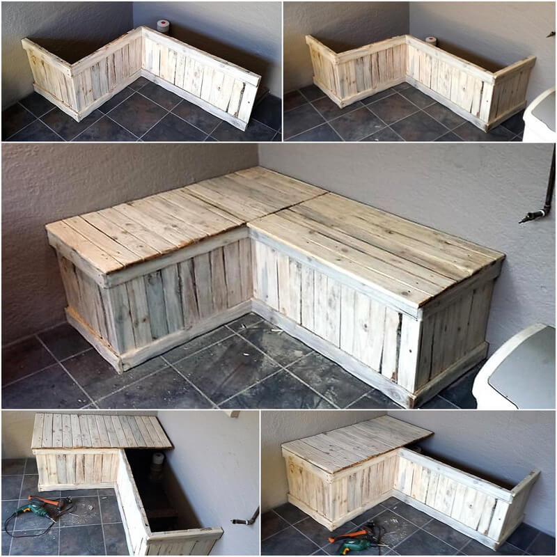 recycled wooden pallet bench idea