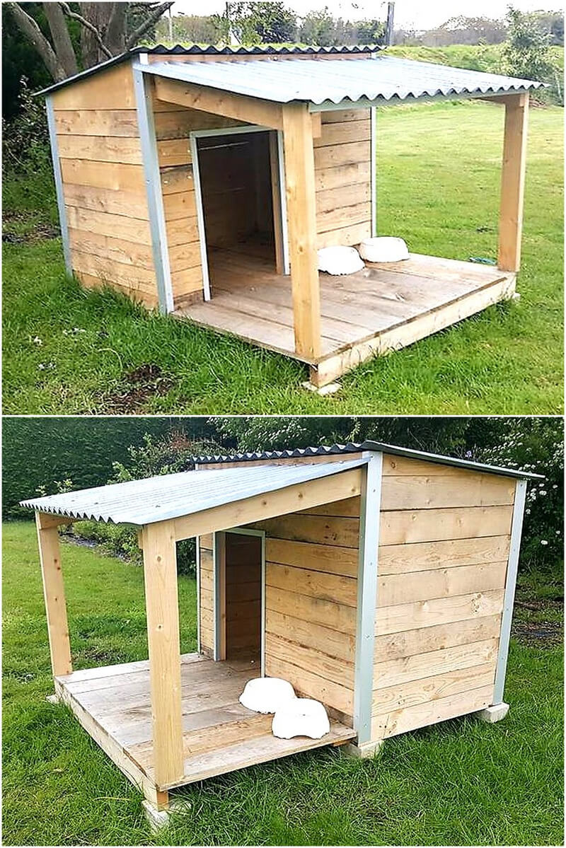 recycled wooden pallet dog house