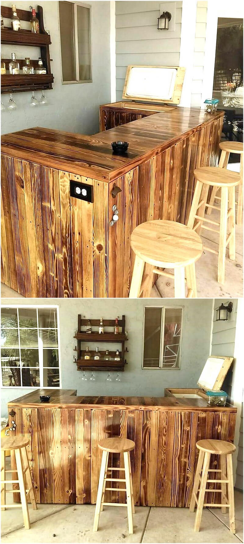 repurposed wood pallet bar