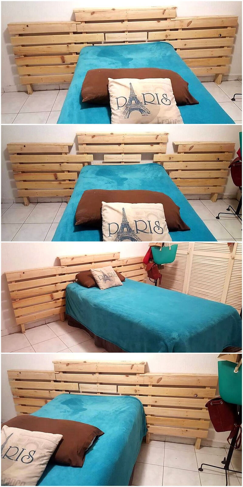 repurposed wood pallet bed headboard
