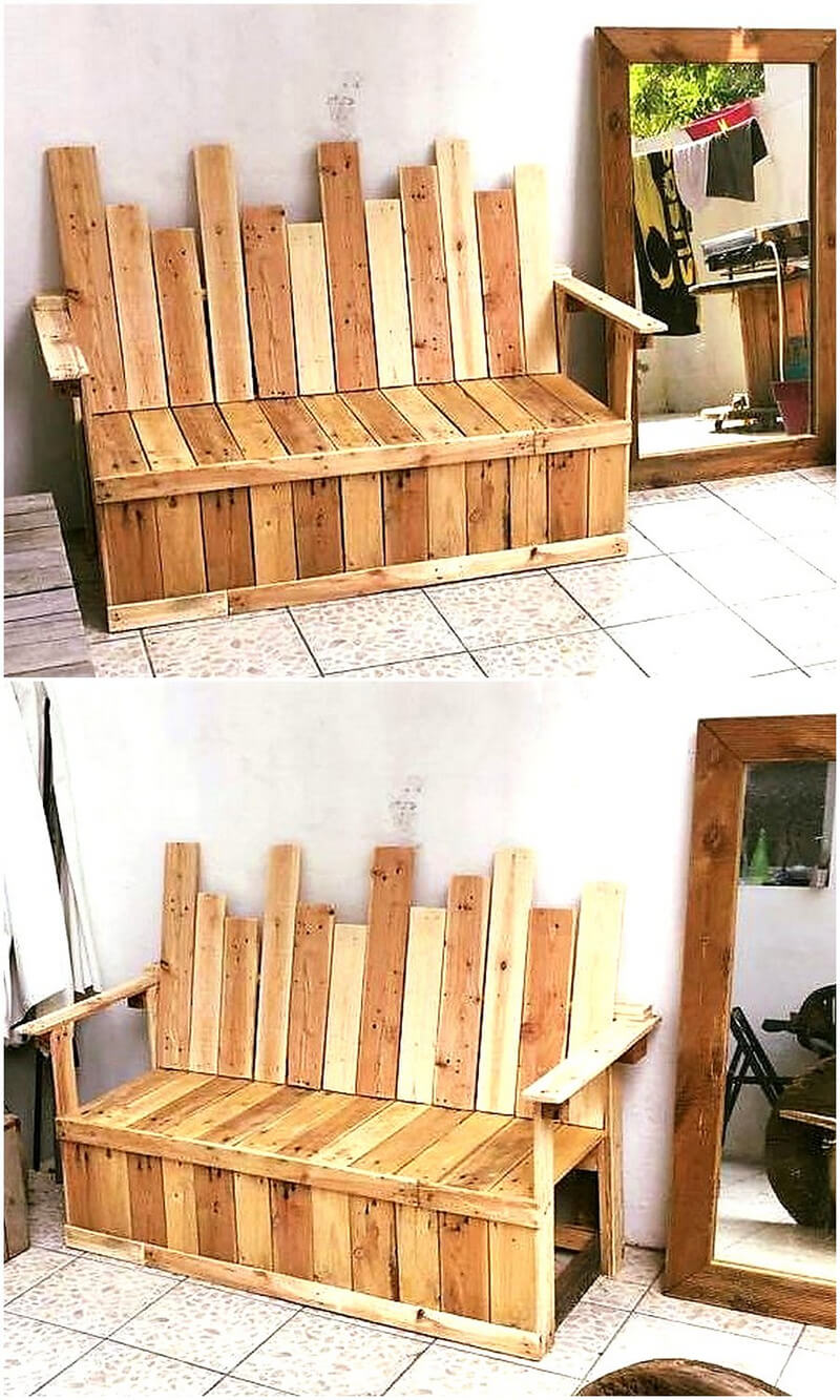 repurposed wood pallet bench
