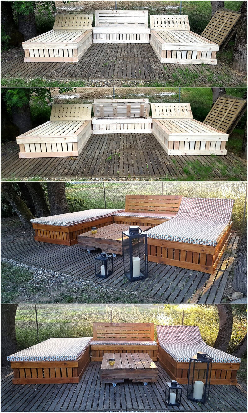 repurposed wood pallet garden terrace with furniture
