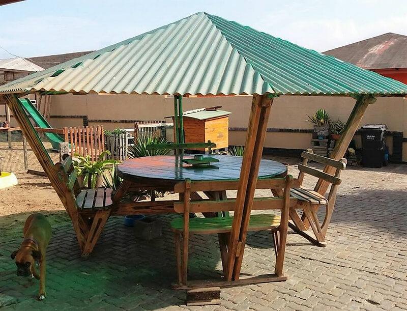repurposed wood pallet gazebo table