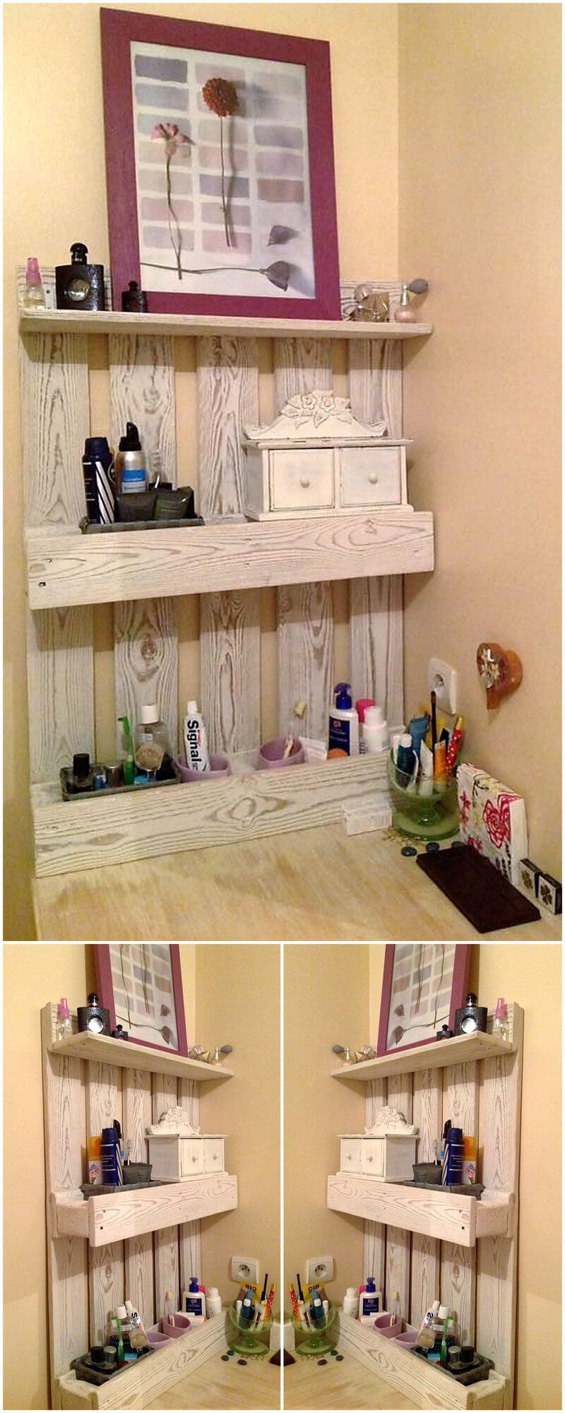 repurposed wood pallet shelf