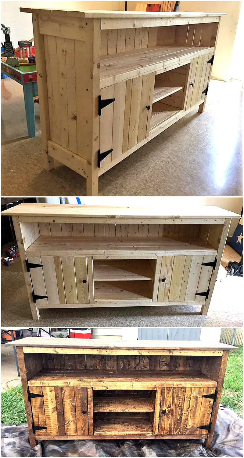 reshaped wood pallets TV stand