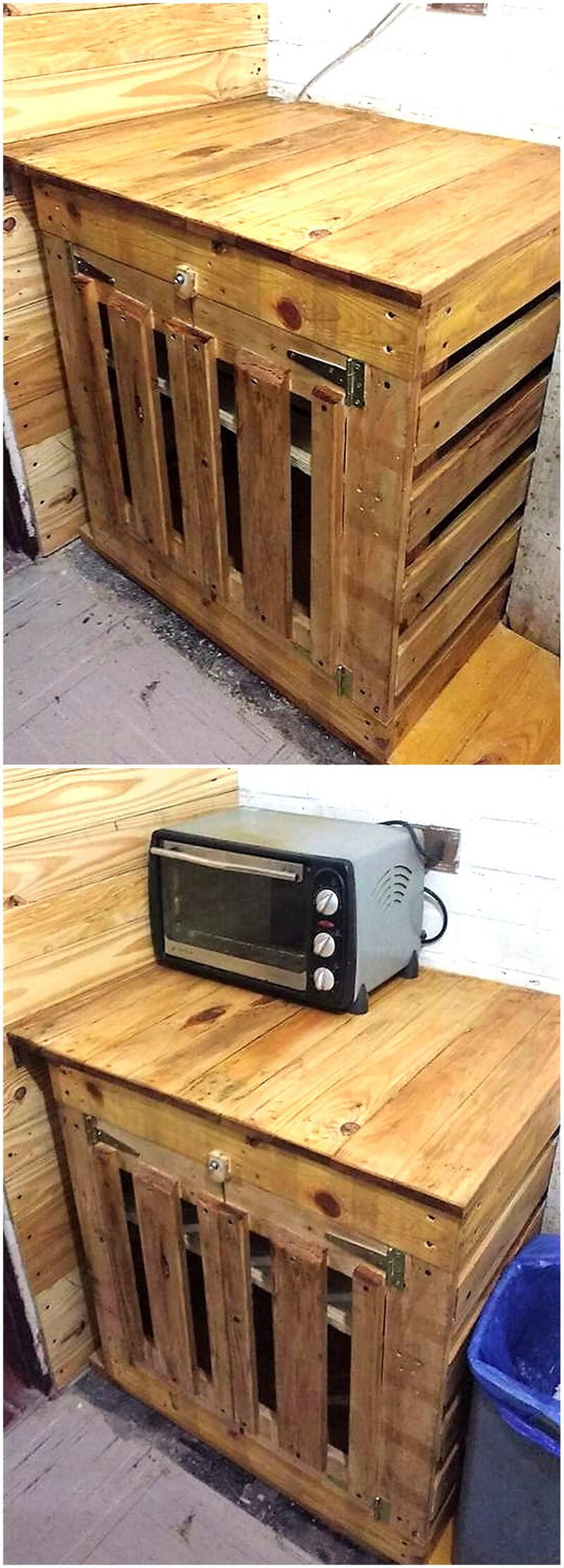 reshaped wood pallets kitchen cabinet