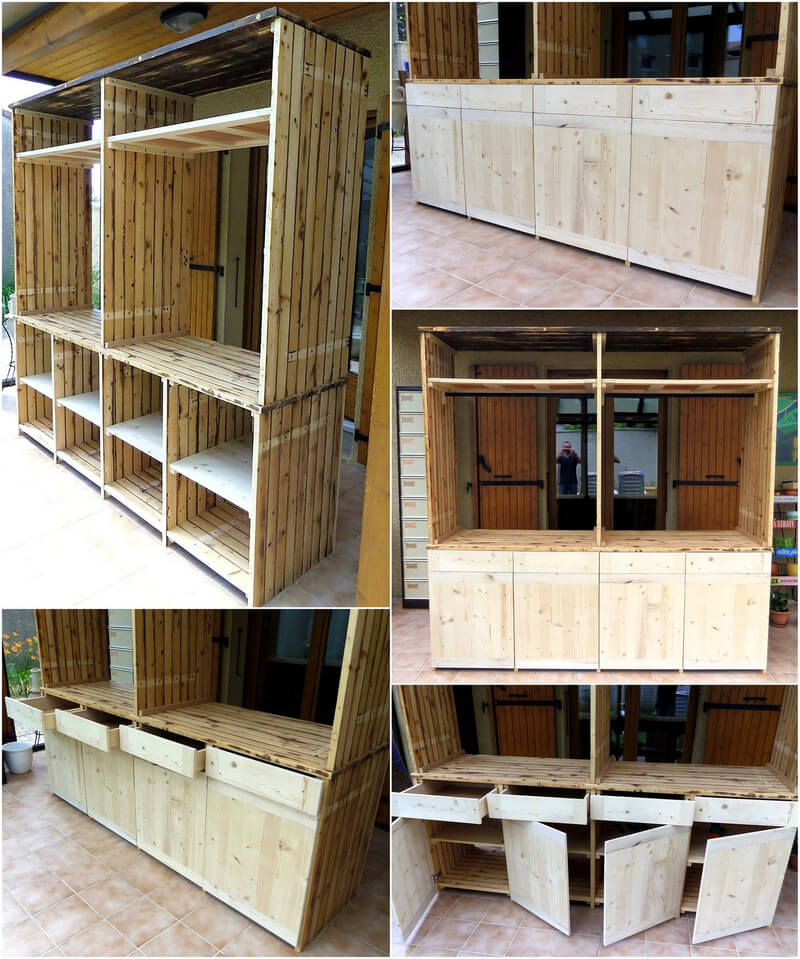 reused pallets made wardrobe storage cabinet