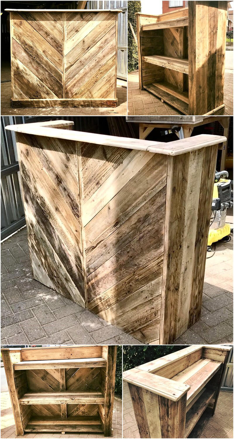 reused pallets wooden bar