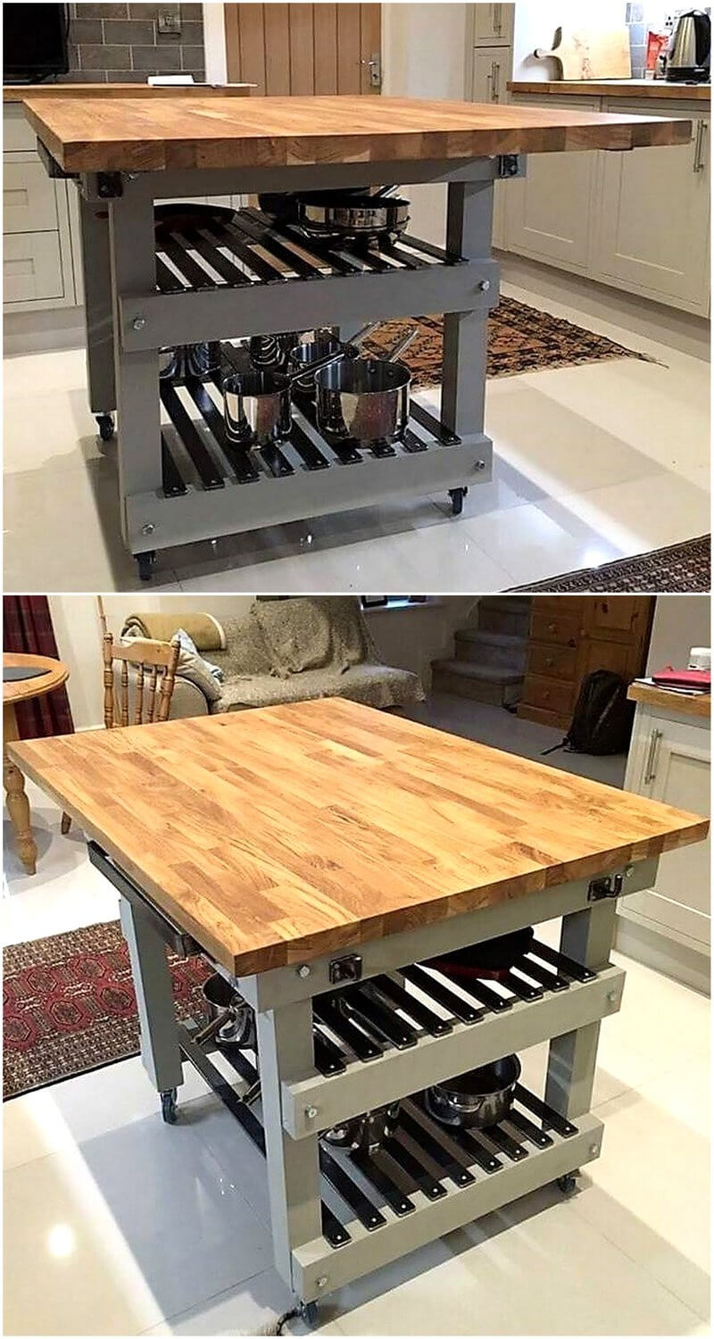 reused pallets wooden kitchen island