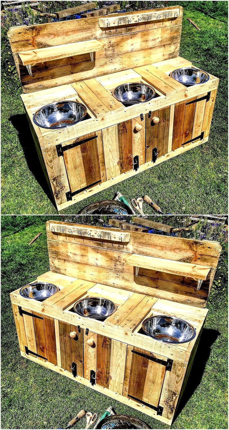 reused wood pallets mud kitchen for kids