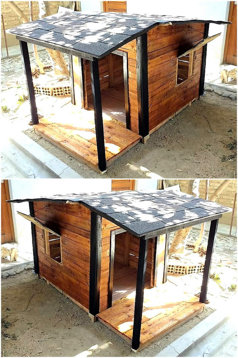 reused wooden pallets dog house