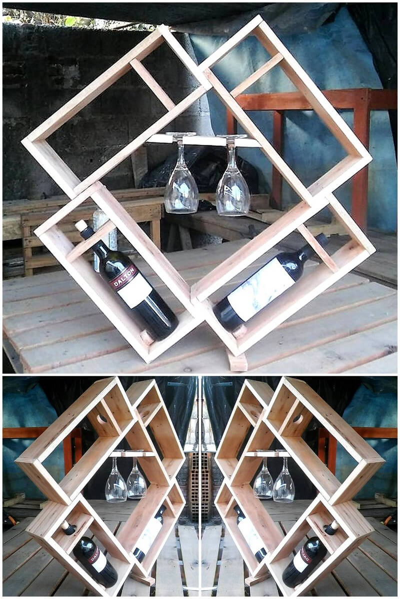 wood pallet artistic bottles and glass rack