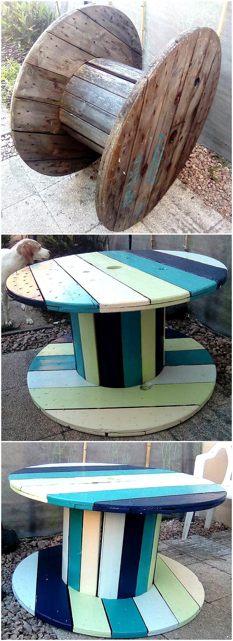 wood pallet cable reel created table idea