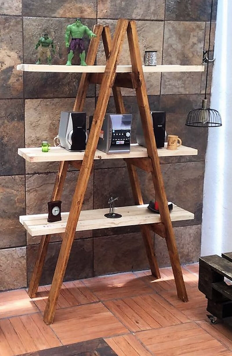 wood pallet decor shelving ladder