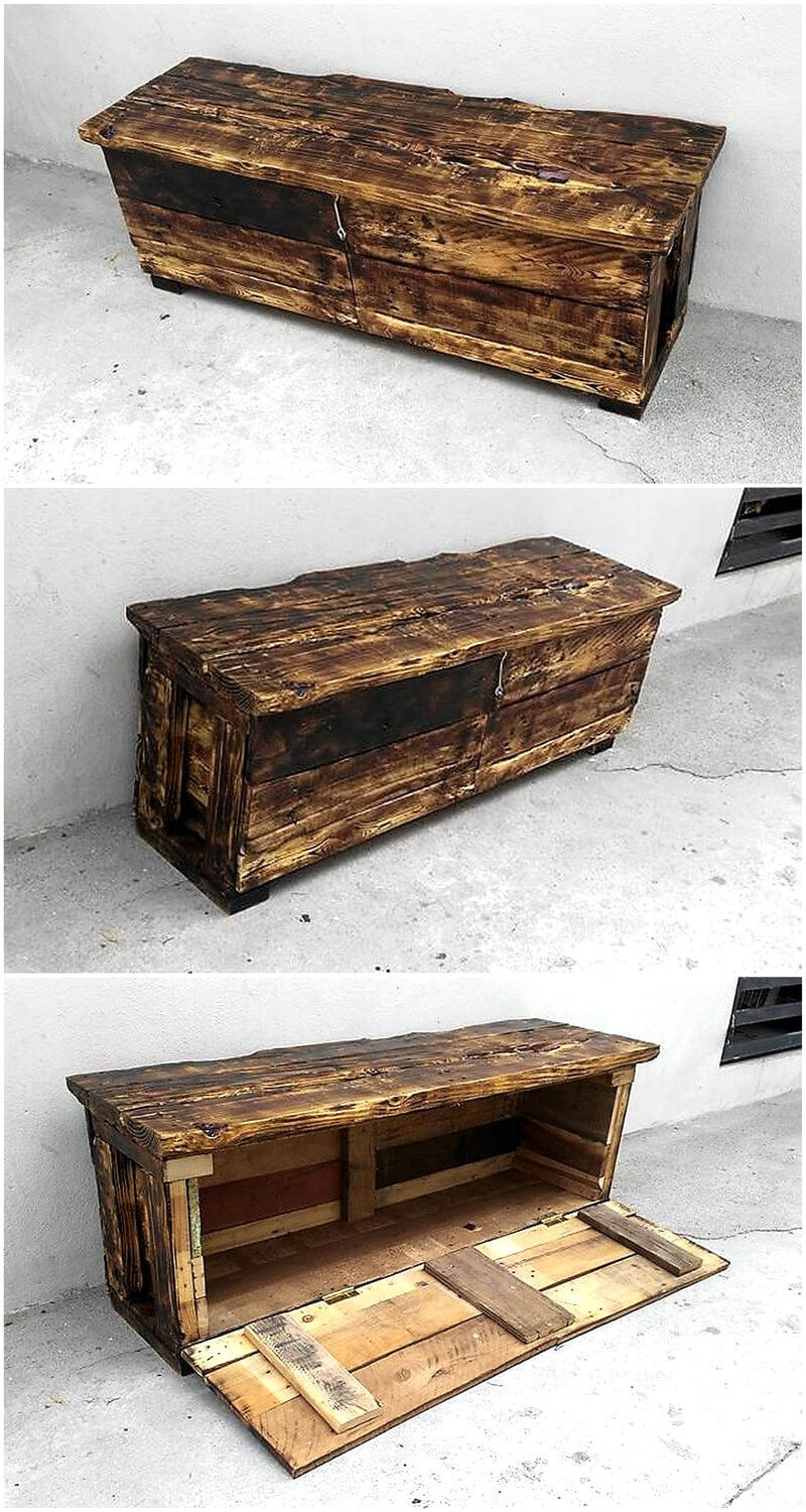 wood pallet media cabinet with storage