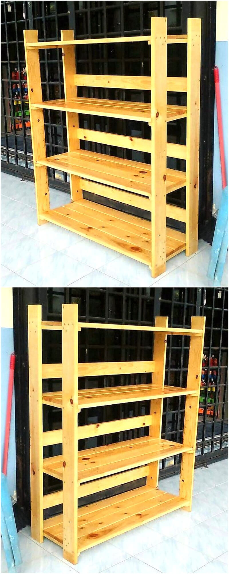 wood pallet shelving rack