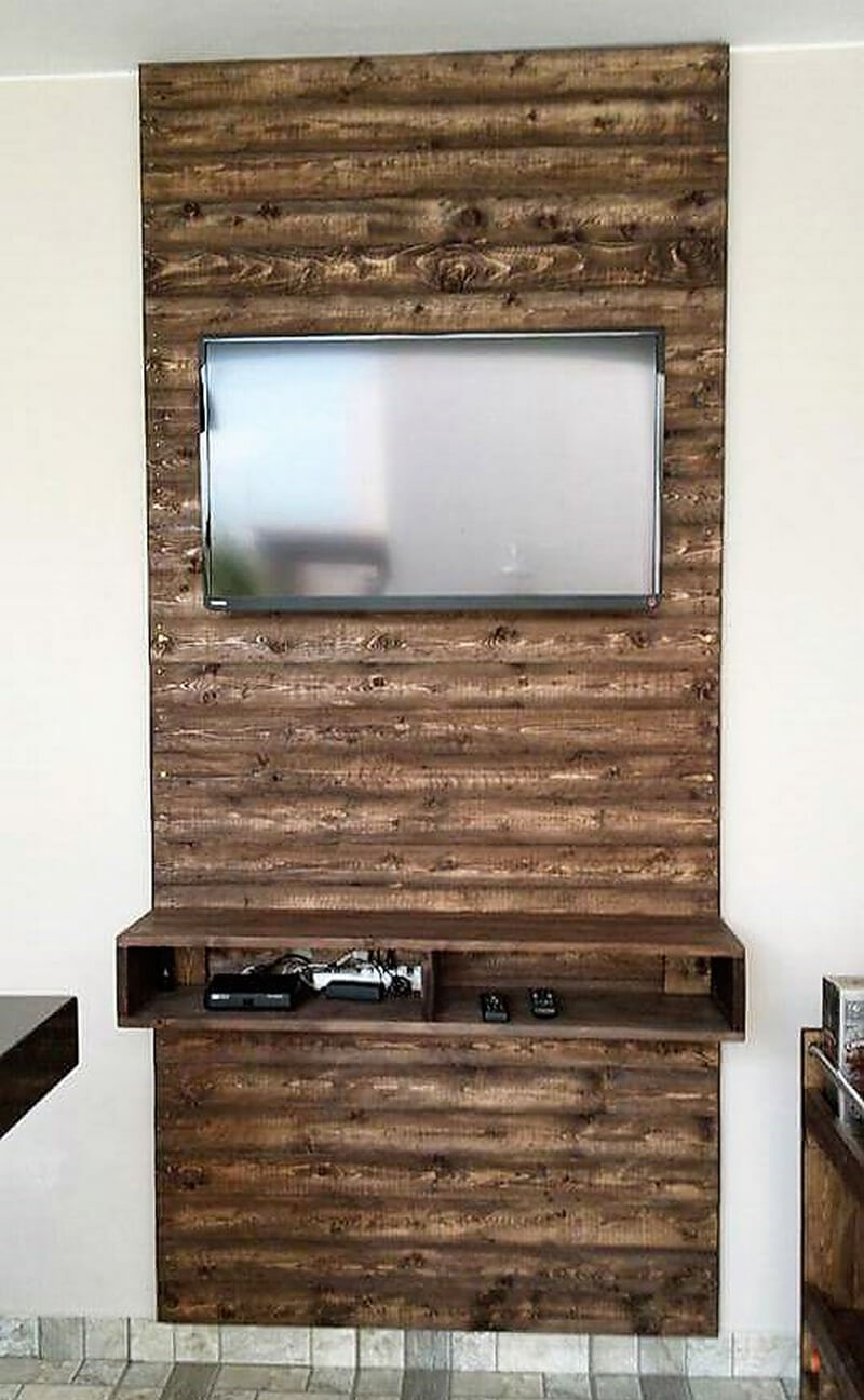 wood pallet wall art for lcd tv