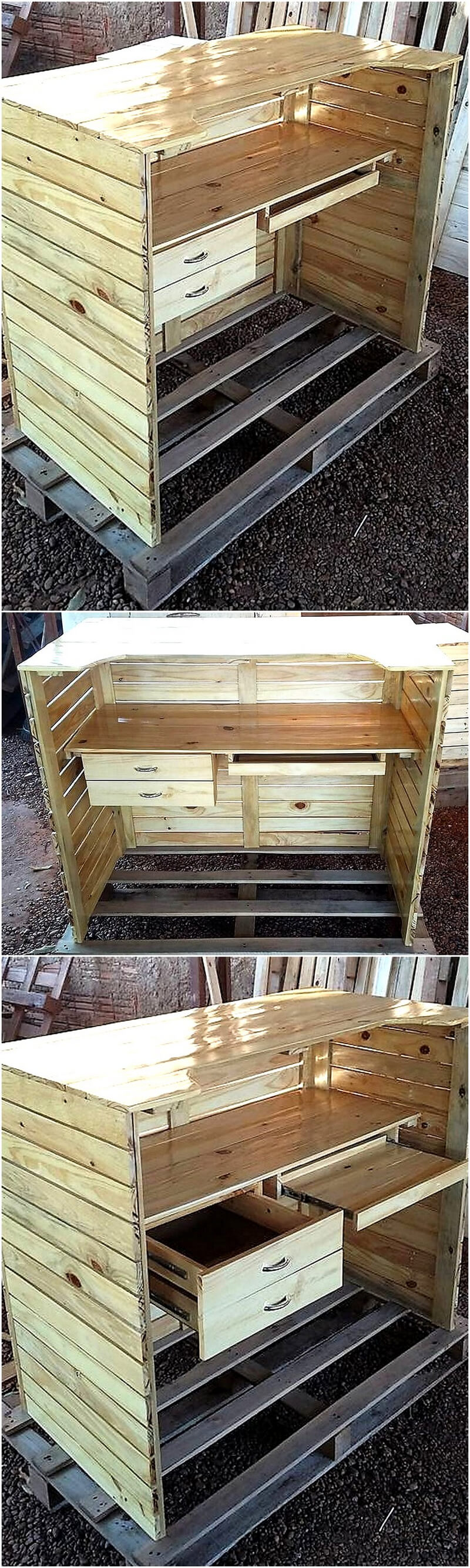 wooden pallet counter desk