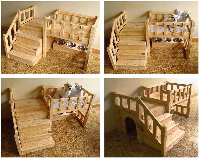 wooden pallet dog bed with food bowls