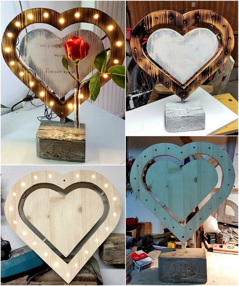 wooden pallet heart art