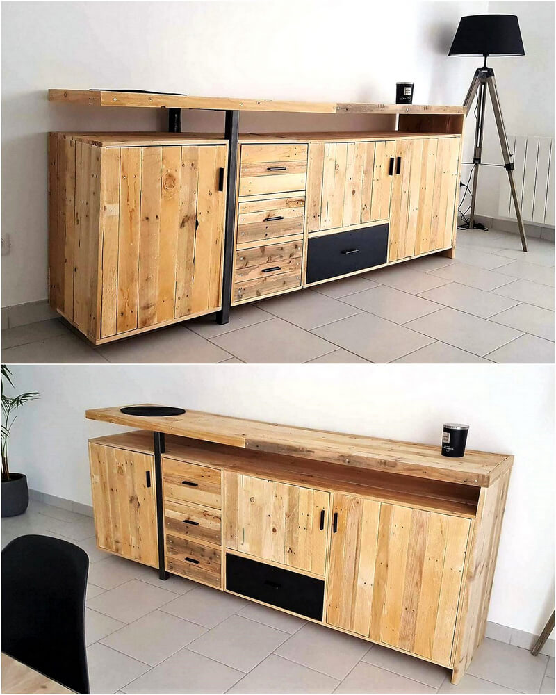 wooden pallet media console plan