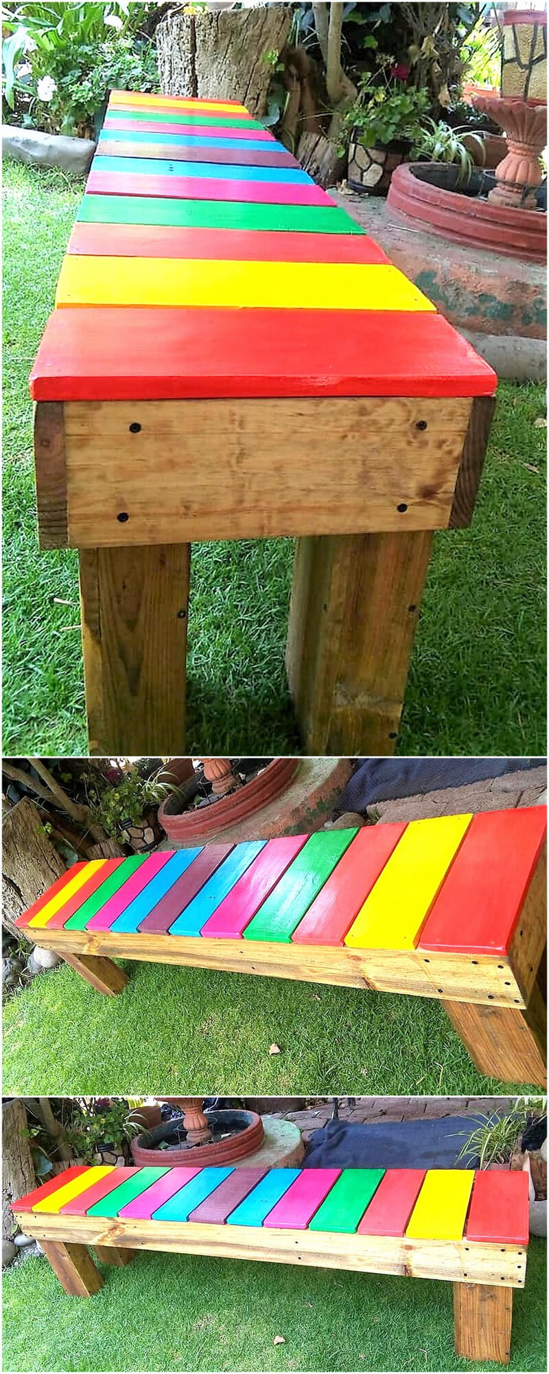 wooden pallet patio garden bench