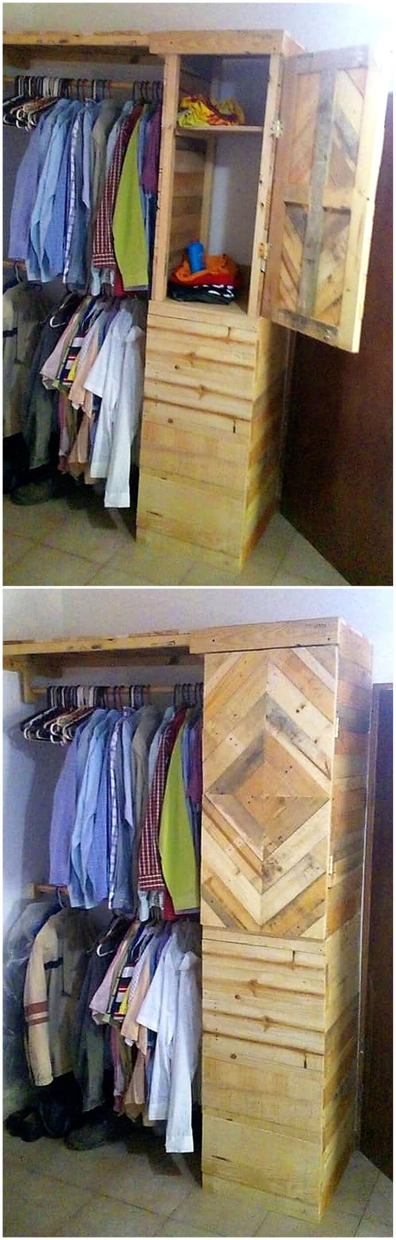 wooden pallet wardrobe idea