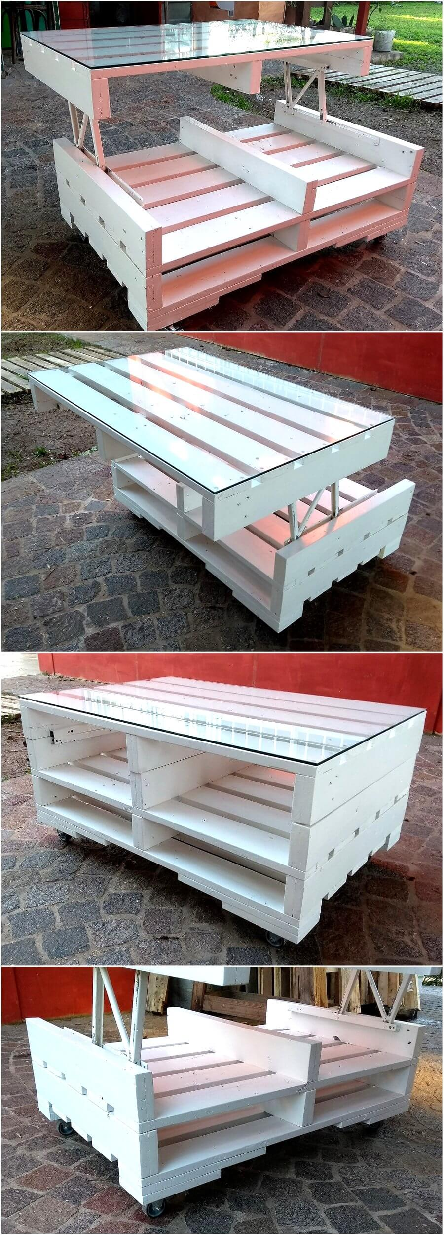 Cute Wood Pallet White Top Up Table