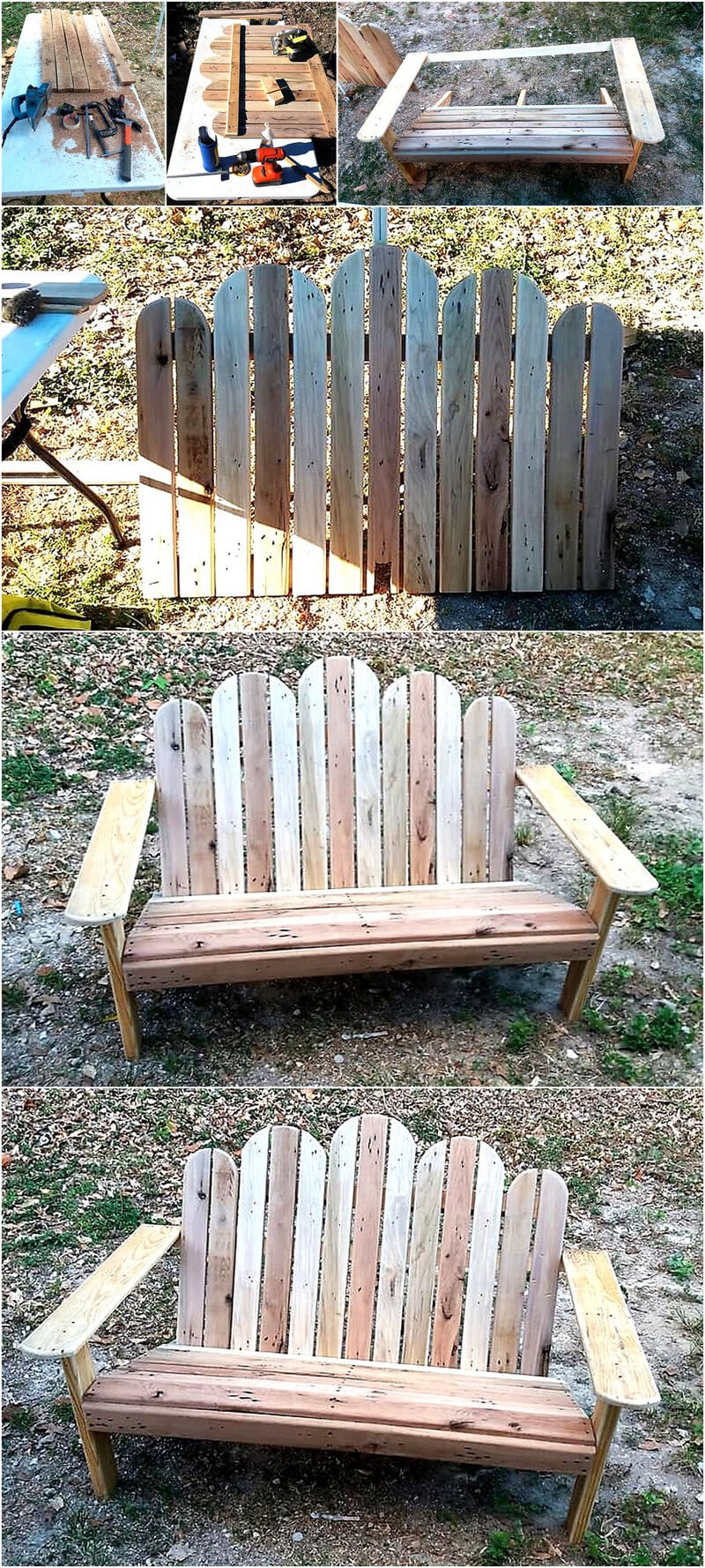 DIY Pallets Wooden Adirondack Bench