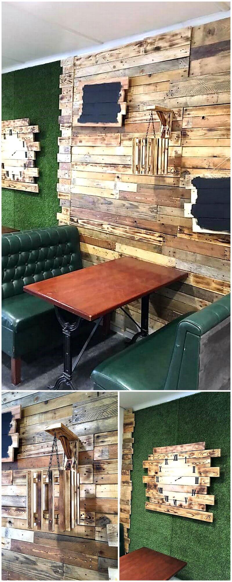 Reclaimed Wooden Pallet Wall Art in Cafe