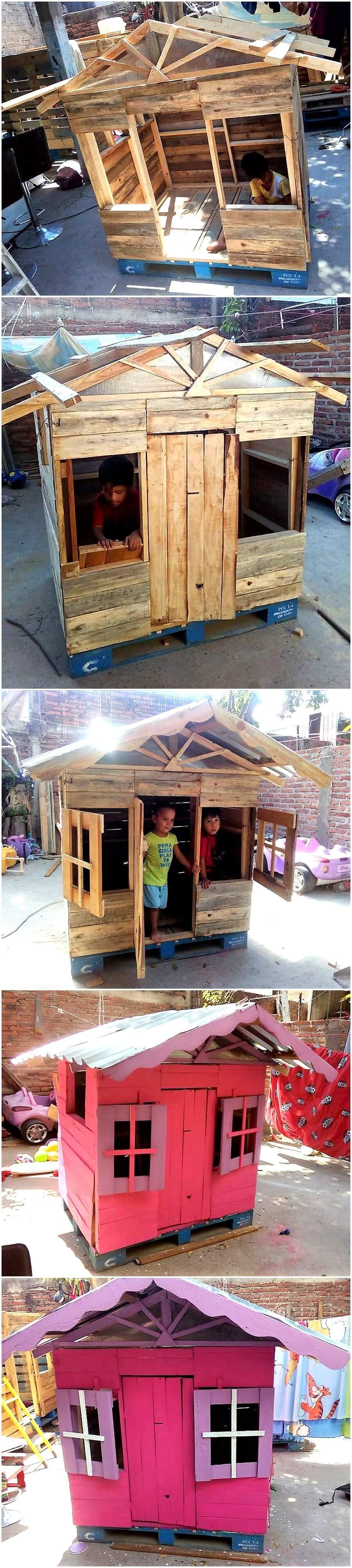 Repurposed Wood Pallets Kids Playhouse Cabin