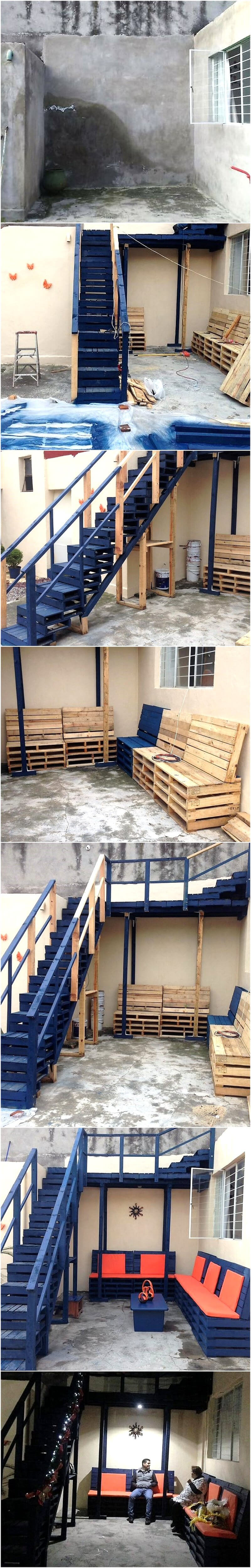 diy pallet wooden lounge under stairs