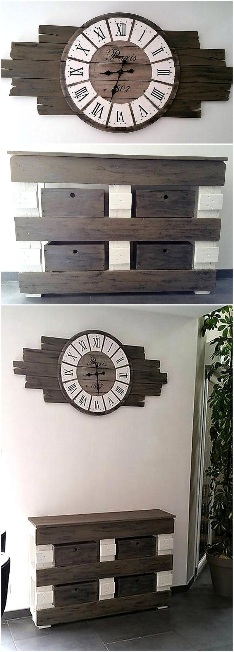 Large Wall Clock In Foyer : Incredible wood pallet ideas and projects
